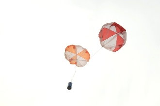 This kit comes with two parachutes, Red & White, Orange & White